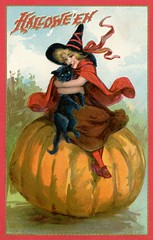Halloween—Witch with a Black Cat on a Pumpkin (Alan Mays) Tags: ephemera postcards greetingcards greetings cards paper printed halloween holidays october31 pumpkins witches women witchhats hats clothes clothing robes ribbons cats blackcats animals hugging hugs borders illustrations orange red black gold 1910 1910s antique old vintage typefaces type typography fonts raphaeltucksons raphaeltuck tuck postcardpublishers halloweenseries 174 series174 postcardseries