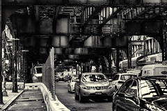 Under the El--Mono (PAJ880) Tags: mta el structure marcy av williamsburg brooklyn nyc raid transit elevated railway mono bw