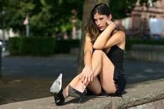 Nathalie 76 (The Booted Cat) Tags: legs heels highheels feet miniskirt sexy brunette long hair model girl pumps
