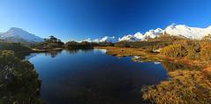Tarn on Key Summit (Matt Champlin) Tags: tgif friday fun adventure weekend beautiful mountains climb climbing amazing hike hiking newzealand keysummit fjordland milfordsound canon 2018 reflection evening water tarn sky serene tree