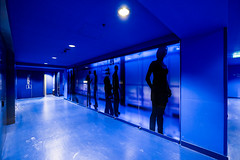 Blue corridor. (pierre bakker) Tags: hilversum northholland netherlands nl museum building gebouw blue corridor gang architecture architectuur nederlandsinstituutvoorbeeldengeluid fujinonxf1024mm fujifilmxt2