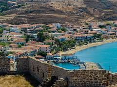 Town Harbour ( View from Myrina Castle)  Limnos - Greece (Olympus OM-D EM1-II & M.Zuiko 40-150mm f2.8 with MC14 Teleconverter) (1 of 1) (markdbaynham) Tags: greece greek hellas hellenic grecia greka gr greekisland greekholiday greektown northaegean northaegeanisland aegeanisland travel olympus omd olympusomd olympusgreece olympusmft olympusem1 m43 m43rd micro43 em1 em1mk2 em1mark2 em1ii csc evil mirrorless microfourthird microfourthirds greektravel hellenicisland limnos lemnos myrina mypina myrinatown harbour mc14 40150mm f28 mzd zuikolic mzuiko fromabove