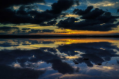 Sunset with Reflection (rtenny) Tags: sunset afterglow atmosphere beach calm cloud clouds dark dawn dusk evening fairweather gray horizon lake landscape light morning nature ocean outdoor outdoors redsky reflection saltlake sanluis sea seascape shore sky sun sunrise travel water