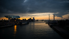 Harbor sunset (beeveephoto) Tags: nikond800e 2470mmf28gvr2 nikkorafs2470mmf28gedvr2 panorama sky skyline clouds cloud sunset belgium flanders antwerp water harbor lights windmill canal outdoor cityscape industry nohdr