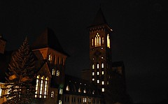 l'Abbaye de Saint-Benoît-du-Lac (Pwern2) Tags: saintbenedictabbey abbey christianmonastery architecture church saintbenoîtdulac eastern townships memphrémagogregionalcountymunicipality memphrémagog multicolouredbricks longexposure night light abbayesaintbenoîtdulac québec