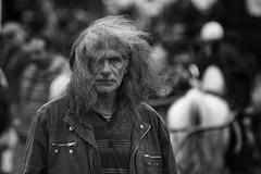Bad Hair Day (Frank Fullard) Tags: frankfullard fullard candid street portrait monochrome black white blanc noir ballinasloe fair horsefair irish ireland wind hair hirsute unkeppt untidy galway