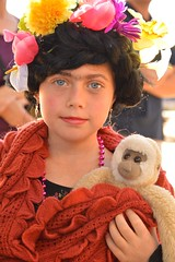 Frida and her pet (radargeek) Tags: okc oklahomacity oklahoma plazadistrict dayofthedead 2018 october kid child children kids portrait monkey flowers