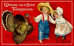 Wishing You a Happy Thanksgiving (Alan Mays) Tags: ephemera postcards greetingcards greetings cards paper printed thanksgiving holidays november turkeys birds poultry animals children boys girls clothes clothing hats dresses pants feeding borders illustrations red blue yellow 1909 1900s antique old vintage typefaces type typography fonts clapsaddle ellenhclapsaddle artists postcardartists sgarre postcardpublishers artistsigned