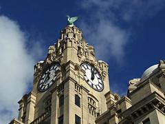 Looking Up in Liverpool, England (teresue) Tags: 2017 uk unitedkingdom greatbritain england merseyside liverpool lookingup publicclock liverbird royalliverbuilding