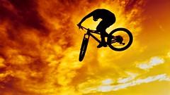 Sunset Air (CTfotomagik) Tags: bike mountainbike jump air ramp track sky sunset recreation sport action perspective