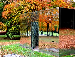 Mirror sculpture at Chatsworth House (Tony Worrall) Tags: chatsworthhouse chatsworth art artist autumn fall color colours coloured seasonal season sculpture statue artwork arty mirror glass leaf leaves park reflection place visit location buy sell sale bought stock item looking tour midlands derbyshire door doorway wall box entrance portal quirky outside image english uk natural