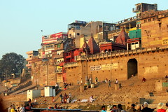 raja ghat (kexi) Tags: varanasi benares india asia ghats rajaghat steps buildings colors history people canon february 2017 text instantfave