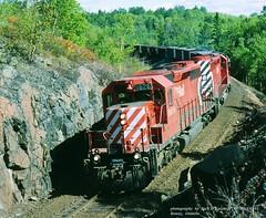 (SEE & HEAR)---CP 5626-5688, ACR train, Benny, ONT.   9-18-1993 (jackdk) Tags: train railroad railway locomotive emd emdsd40 emdsd402 sd40 sd402 cp cpr canadianpacific acr algomacentral algoma ore oretrain orejenny standardcab multimark pacman cartiersub benny bennyontario whiteriversub