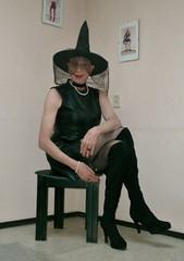 Happy Halloween! (sabine57) Tags: crossdressing transvestism crossdress crossdresser cd tranny tgirl transgender transvestite tv travestie drag highheels boots overkneeboots otkboots pantyhose tights dress blackdress lbd hat choker leatherdress halloween