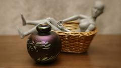 Chillin' (N.the.Kudzu) Tags: tabletop stilllife plastic mannequin basket perfume bottle canondslr lensbabysol45 lightroom