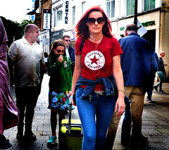 Red Star (Owen J Fitzpatrick) Tags: ojf people photography nikon fitzpatrick owen pretty pavement chasing d3100 ireland editorial use only ojfitzpatrick eire dublin republic city tamron candid joe candidphotography candidphoto unposed natural attractive beauty beautiful woman female lady j along grafton street 2018 dslr digital streetphoto streetphotography pope francis papal visit august 25 25th centre red star rua hair redhead shirt jeans face shades sunglasses photoshoot