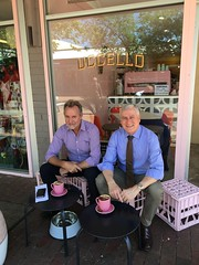 Having a quick coffee with Deputy PM Michael McCormack MP at CafeUccello in Alice Springs, 27/09/2108