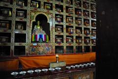 Karsha Monastery - prayer books and offering bowls