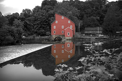Red Mill I (Alexander Day) Tags: red mill clinton new jersey selective desaturation reflection water dam river alex day alexander