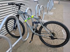 October 4: Parked bike (earthdog) Tags: 2018 googlepixel pixel androidapp moblog cameraphone library sanjose bike bicycle rack bikerack