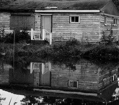 Reflections Of Days Long Ago (Eat With Your Eyez) Tags: summit county ohio october autumn panasonic fz1000 shack abandoned black and white bw reflection canal water