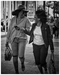 bonheur! (gro57074@bigpond.net.au) Tags: happiness thecorso manly x100f fujifilm monotone monochrome mono bw blackwhite happy laughing women friends candidstreet streetphotography
