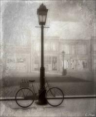 Bike (Loegan Magic) Tags: secondlife bicycle bike streetlamp shops road sidewalk vintage blackandwhite pinkfloyd lyrics