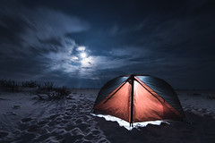 Camping at Assateague Island by Christopher Lee (Maryland DNR) Tags: 2018 photocontest winter recreation tent camping beach assateague night