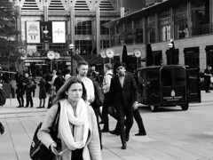 Streets, people... (Мaistora) Tags: street city people pedestrians offices business urban square busy workforce rushhour rush hurry time girl woman female lady men male strangers candid documentary reporting crowd outside open canarywharf canadasquare london england britain uk leica dlux 109 test trial bw blackandwhite moo monochrome direct jpeg sooc unedited untouched incamera