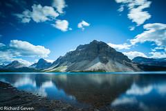 Bow lake Canada (Richard Geven) Tags: canada lake water purple blue mountains layers joy clear sky freedom beaty nature alone wonder wonderfull huge secret secretisland indians amazing