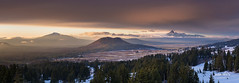 Back to Crater Lake (nybblr) Tags: nationalpark mountain sunset dusk twilight snow crater volcano peak valley butte forest trees oregon clouds breathtakinglandscapes pano panorama