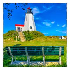Bench at Plymouth Light (Timothy Valentine) Tags: lighthouse large bench 0918 gurnetpoint sky 2018 monday plymouth massachusetts unitedstates us
