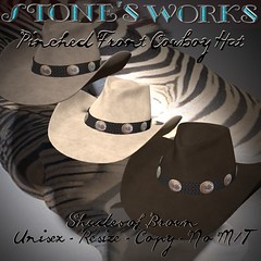 Pinch Front CbHat Browns Pack Stone's Works (darkstoneaeon2) Tags: stonesworks avatar fashion hat sale fatpack cowboycowgirl