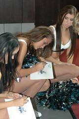 Eagles Cheerleaders signing autographs (hootervillefan) Tags: 2006 philadelphia eagles nfl football cheerleaders sexy pretty cheerleader cheer pantyhose hose hosiery legs tan