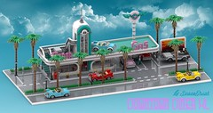 Downtown Diner XL - main view (SpaceBrick) Tags: lego moc render studio v2 modular diner xl downtown california palm tree gas station spacebrick creation