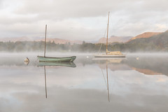 Tranquillity, Windermere, Lake District (MelvinNicholsonPhotography) Tags: windermere lakedistrict cumbria lake sunrise dawn mist langdales langdalepikes reflections boats
