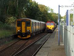 150263 & 66200 Penryn (Marky7890) Tags: dbcargo 66200 class66 3j15 gwr 150263 class150 sprinter 2f81 penryn railway cornwall maritimeline train rhtt