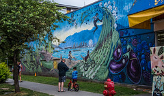2018 - Vancouver - Cycle (Ted's photos - For Me & You) Tags: 2018 bc britishcolumbia canada cropped nikon nikond750 nikonfx tedmcgrath tedsphotos vancouver vancouverbc vancouvercity vignetting emilygray emilygraymural emilygraymuralvancouver cycle cyclemural keafoods keafoodsvancouver firehydrant pylon streetscene street pathway peopleandpaths pathsandpeople people mural bicycle shorts graffiti red redrule cans2s