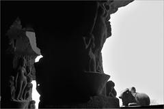 nandi, ellora (nevil zaveri (thank U for 15M views:)) Tags: zaveri apsara celestial nymph ellora caves cave17 unesco world heritage maharashtra india photography photographer images photos blog stockimages photograph photographs rockcut basalt aetrip interior carving monochrome bw blackandwhite nevil rocks nevilzaveri stock photo nandi bull religious