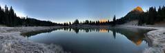 Sunrise Magic (jeff's pixels) Tags: pano landscape iphonexs nationalpark pnw tipsoolake reflection mountain mountrainiernationalpark mountrainier lake nachespeak