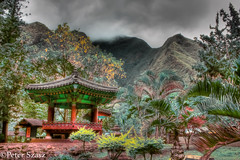 Place for tranquility (Peter Szasz) Tags: maui hawaii iao valley mountain tropical trees wood pagoda asian chinese tranquil sky clouds colourful hdr stormy brooding pacific nature landscape outside travel hill hillside dark calm moody flora poles roof park wailuku