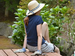 Gardening Break (Scott 97006) Tags: woman female lady break gloves garden relax hat deck