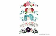 5x romantische Blumen-Ornamente Aufbügler (patchmonkeys) Tags: patch bügelbild blüten applikation aufbügler print bügelbilder blumen rosen transfer verzierung poesie romantische
