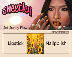 Sweetley - Set Sunny Flower add (Sweetley SL) Tags: sweetley secondlife sl maitreya catwa lipstick beauty nailapplier hud mesh bento sunflower flowers beautiful copyrighted original newrelease