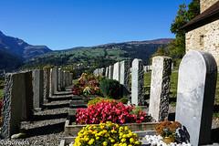 A wonderful place to R.I.P. (aguswiss1) Tags: bündnerland flickr friedhof flowers graveyard nature grab switzerland sky sils schweiz grave bluesky alps