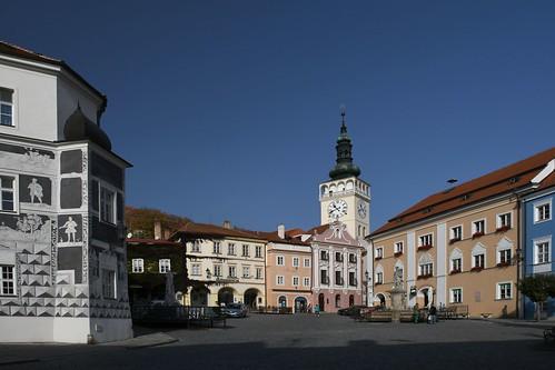Mikulov, Hauptplatz und Schloss