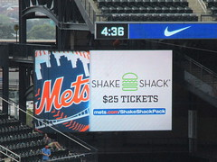 Citi Field, 08/26/18 (NYM v. WAS): video board promo for the Mets' Shake Shack Pack ticket offer - a Standing Room Only (SRO) game ticket, Single ShackBurger and Shake for $25 (IMG_3135a) (Gary Dunaier) Tags: baseball stadiums stadia ballparks mets newyorkmets flushing queens newyorkcity queenscounty queensboro queensborough citifield
