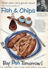 Advert in 'House Wife'. July 1957 (stuartjames5) Tags: fishandchips 1957 advertising vintageadvertising advert