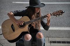 Amber's New Guitar (Scott 97006) Tags: woman female lady musician guitarist harmonics hat pretty knees sexy