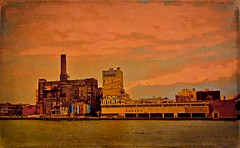 Domino Sugar Refinery - Brooklyn, New York City (Andreas Komodromos) Tags: portfolio abandoned art brooklyn city cityscape clouds design eastriver factory graffiti landmark newyork newyorkcity nyandreas nyc refinery riverfront sky textured waterfront williamsburg street photography urban landscape